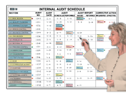 Internal Audit Schedule
