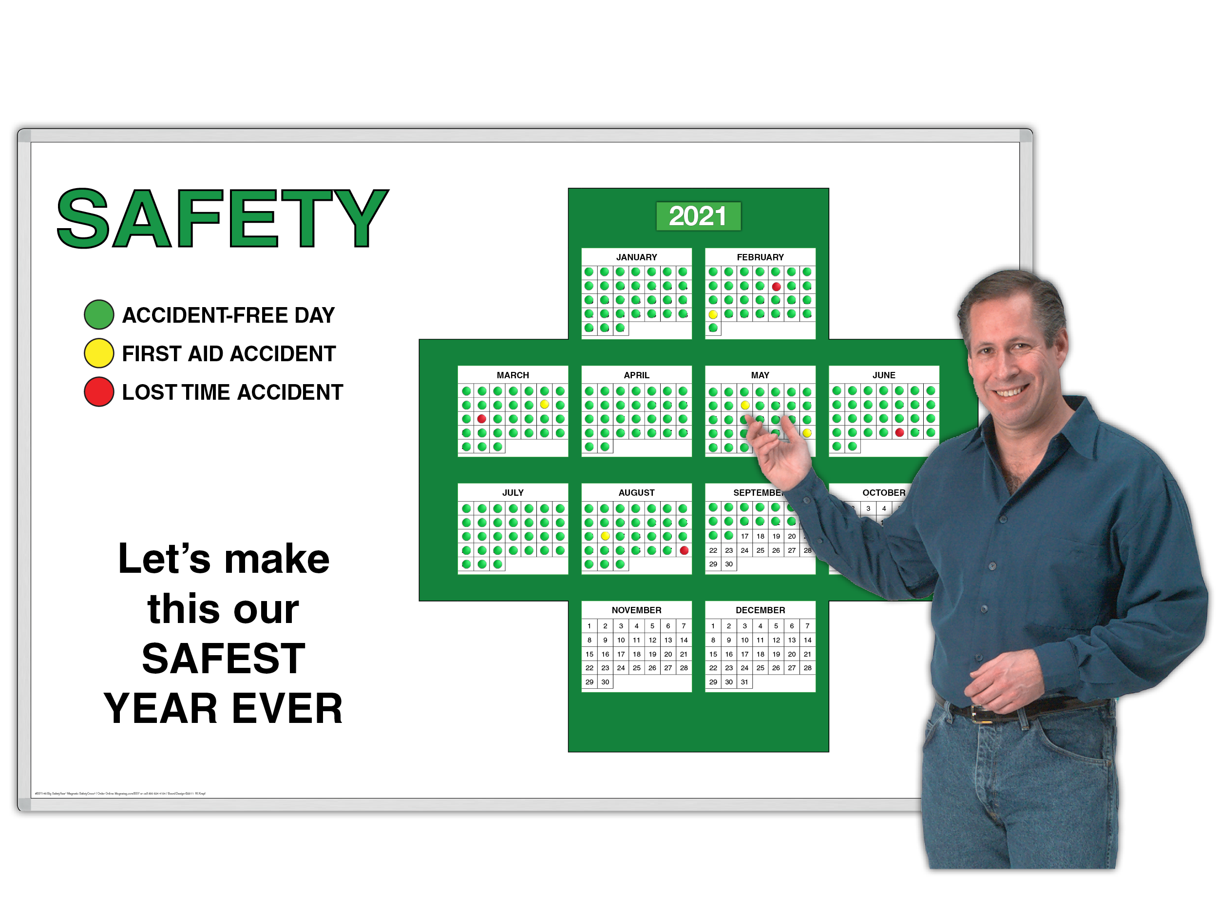 Big SafetyYear™ Perpetual 365-Day Interactive Magnetic Workplace SafetyCross® Motivator