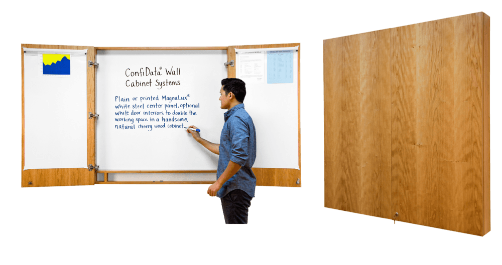 Plain Or Printed Magnetic Steel Whiteboard Center Panel, Optional White  Door Interiors In A Handsome Natural Cherry Wood Cabinet, 4 X 4u0027.