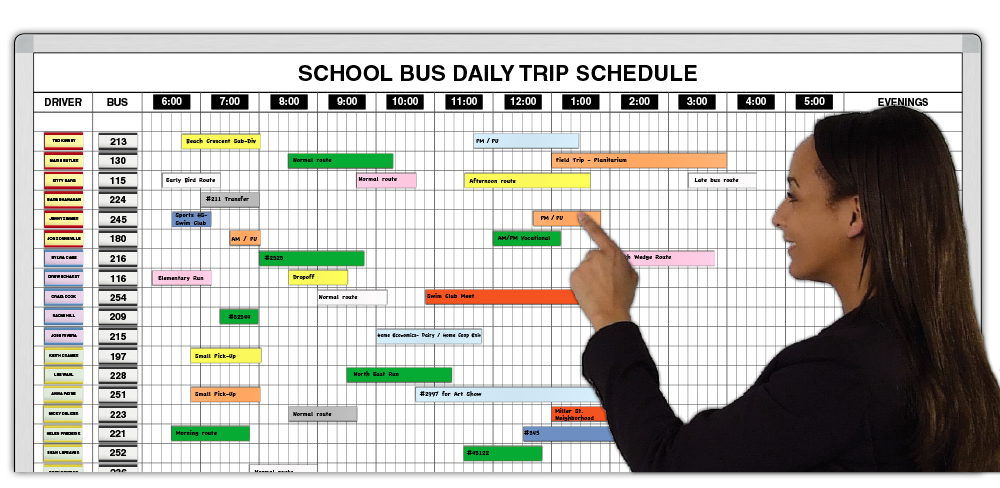 magnetic school bus trip schedule x time