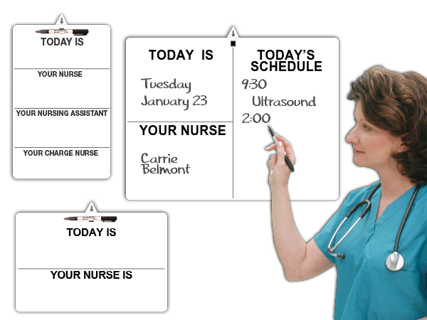 Patient's BedSide™ Dry-erase or Damp-erase Portable MiniBoards™