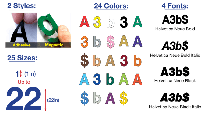 Adhesive Letters/Numbers & Magnetic Letters/Numbers | Magnatag