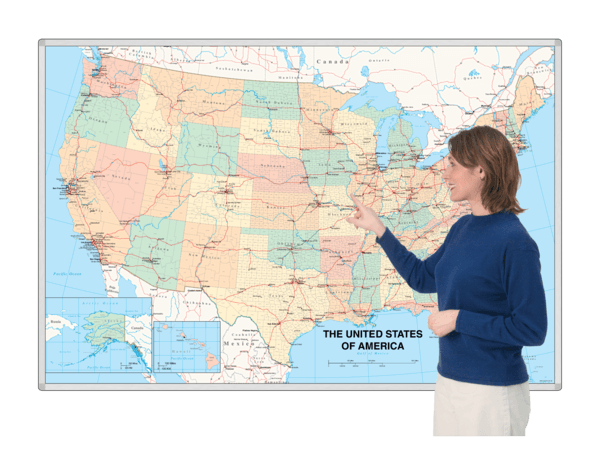 MagnaMap® magnetic printed steel whiteboard Maps