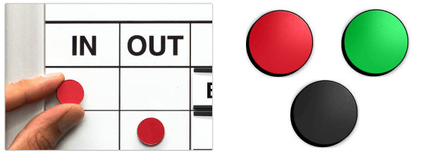 In & Out board Magnet Indicators   In/Out Magnet Kit   Magnatag