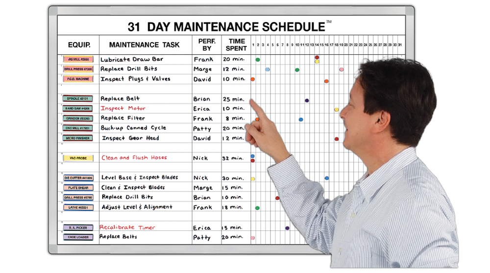 31 day preventive maintenance schedule in view and under control equipment task assignee and date 3 sizes for 18 43 or 56 jobs pronofoot35fo Choice Image