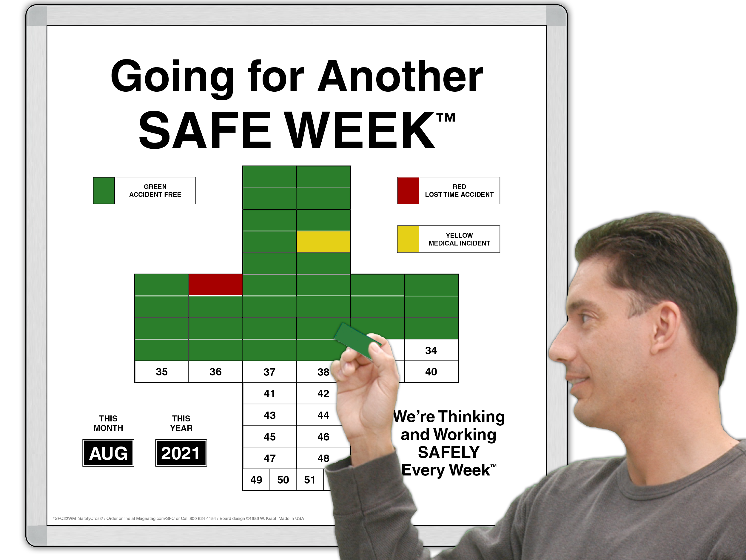 Magnetic SafetyCross® Workplace Safety Interactive Motivational Sign.