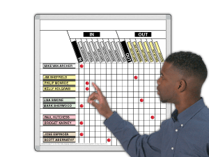In/Out Magnetic Whiteboards for Scheduling Needs   Magnatag