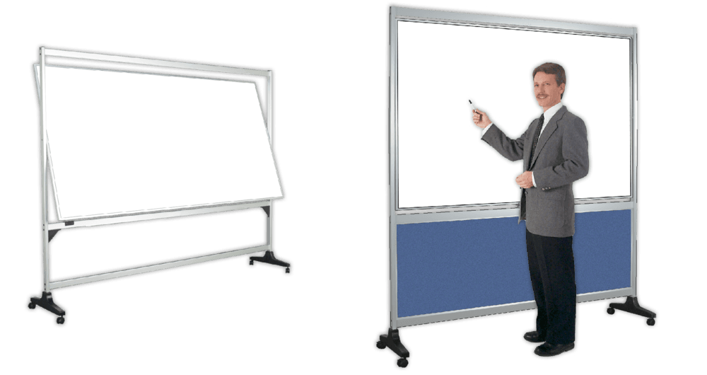 prepare your whiteboard stand on one side roll it to your meeting then turn it over for writing space order it with plain or printed