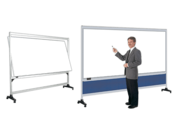 RollAround™ White Board Pivot Stands with 2-sided plain or printed boards.